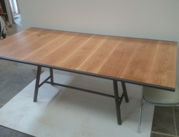 slim dining table, Oak / steel